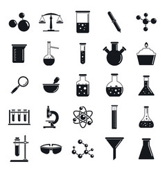 chemistry laboratory icon set simple style vector image