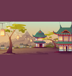 Chinese asian village with traditional houses vector