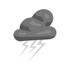 Clouds and lightning icon black monochrome style vector