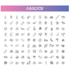 Collection gardening line icons vector