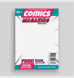 Comic magazine cover page template vector