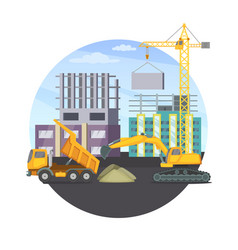 Construction concept with unfinished modern vector