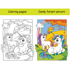 cute unicorns in autumn forest coloring vector image