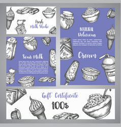 dairy sweet gift certificate with sketch hand vector image