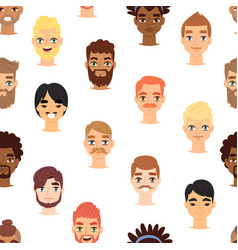 Different beard man head face icons vector