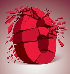 dimensional wireframe red number 6 demolished vector image