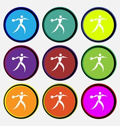 Discus thrower icon sign nine multi colored round vector