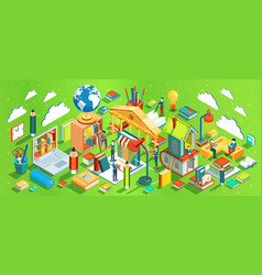 education isometric concept on green background vector image
