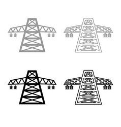 Electric pole post high voltage set line icon vector