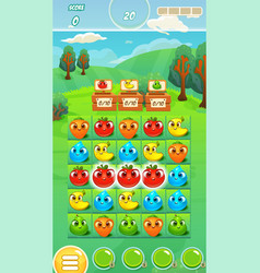 Farm fruits gameplay screen - mobile game assets vector