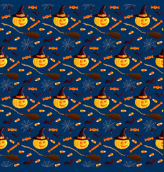 Festive seamless pattern halloween characters vector