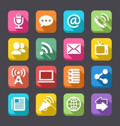 flat communication icon set vector image