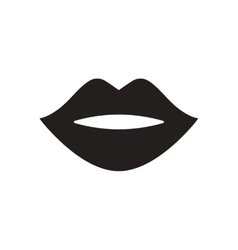 Flat icon in black and white lips vector