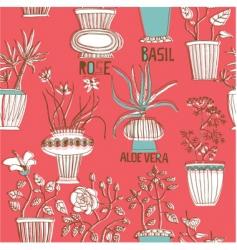 flower pots background vector image