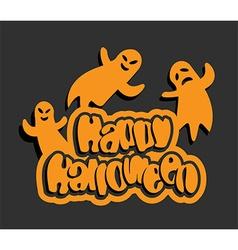 flying ghosts halloween background vector image