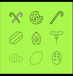 food and drink linear icon set simple outline vector image