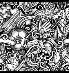 football hand drawn doodles seamless vector image