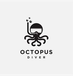 fun minimalist octopus diver logo icon template vector image