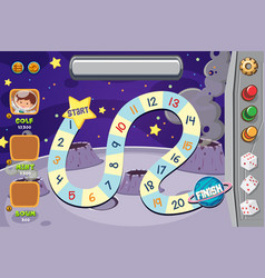 game template with moon surface background vector image