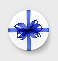 gift box with transparent blue bow and ribbon vector image