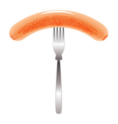 grilled sausage on a steel fork vector image