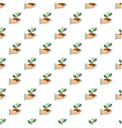 hand holding green sprout pattern vector image