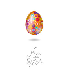 happy easter card egg yellow vector image
