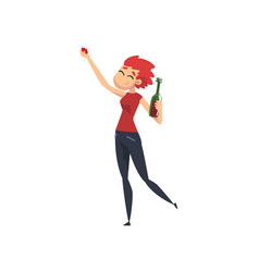Happy girl with bottle of alcohol drink in her vector