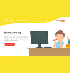 Homeschooling landing page template education vector