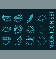 indian food set icons blue glowing neon style vector image