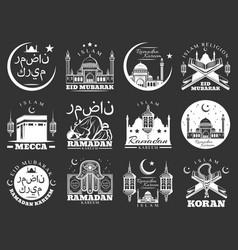 islam ramadan and mubarak religious holidays icons vector image