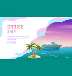 landing page design banner with liner cruise vector image