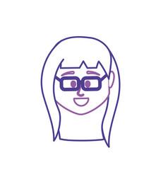 Line avatar woman head to social user vector