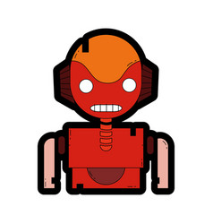 line color robot face with technology chest design vector image