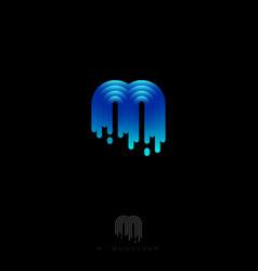 M monogram logo rounded stripes gradient vector