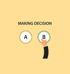 making decision concept symbol with two option a vector image