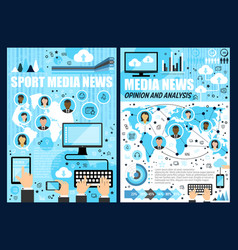 mass media news mobile phone computer tablet vector image