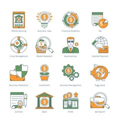 Modern Business Thin Line Icons vector