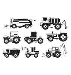 Monochrome pictures of agricultural machinery vector