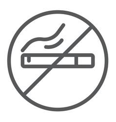 no smoking line icon smoke and warning cigarette vector image