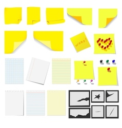 Office sticky notes and turned paper vector