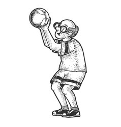 old man basketball sketch vector image