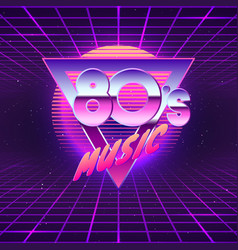 paster template for retro party 80s neon colors vector image