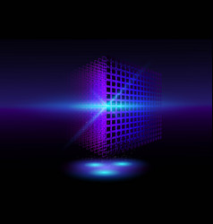 perspective 3d wireframe cube geometric cube from vector image