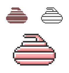 Pixel icon curling stone in three variants vector