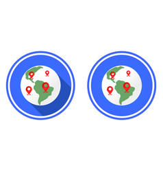 planet and locations mark earth round flat icon vector image