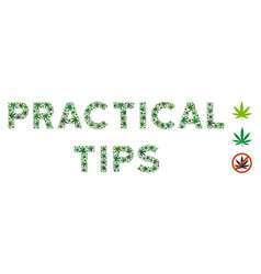 Practical tips caption composition of weed leaves vector