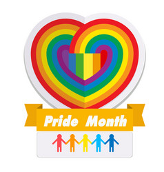 pride month ribbon rainbow heart background vector image