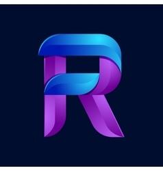R letter volume blue and purple color logo design vector image