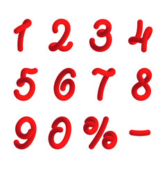red numbers in 3d style vector image